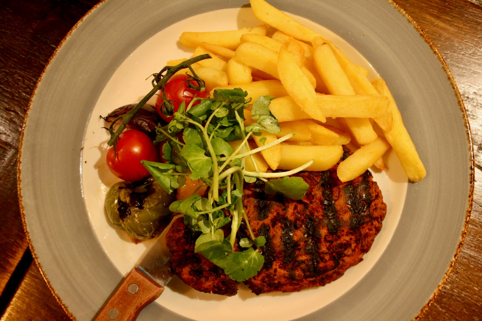 Two Steeples Wigston Greene King review Leicester Leicestershire vegan steak