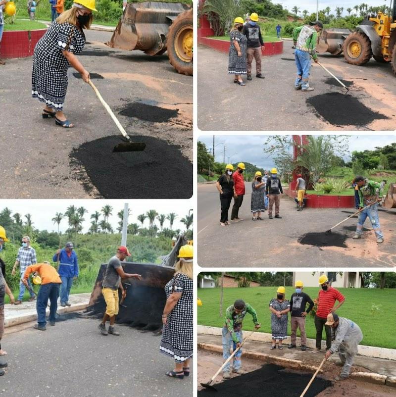 Prefeita Dirce Prazeres fiscaliza operação tapa buracos em Lima Campos.