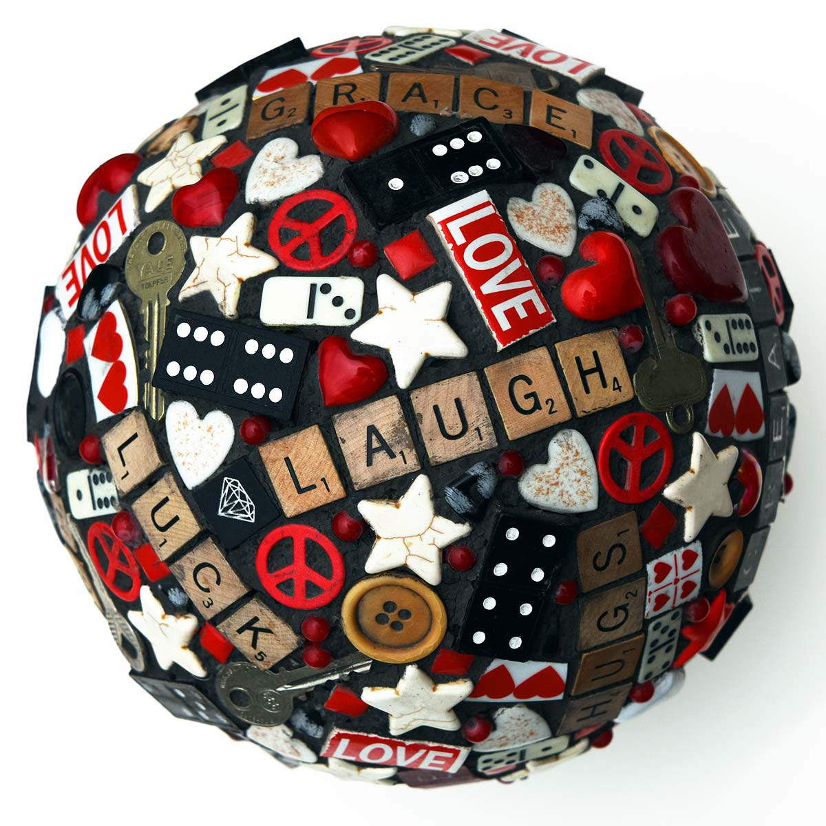 Found object mosaic bowling ball