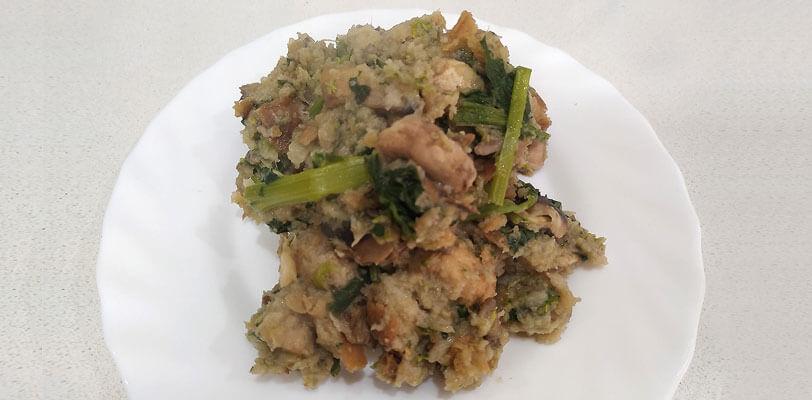 migras grelos com cogumelos - receita vegetariana - tropa do batom