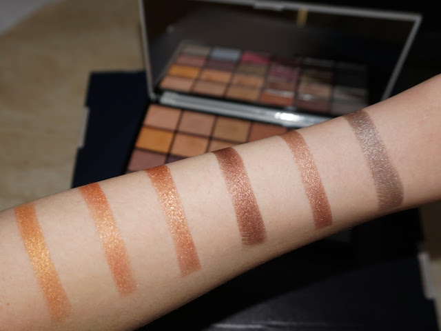second row swatches with flash Life on the dancefloor Afterparty palette by makeup revolution