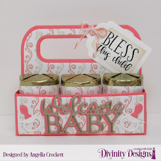 Divinity Designs Stamp Set: Sweet Baby, Custom Dies: Candy Carrier, Baby Blessings, Paper Collection: Baby Girl