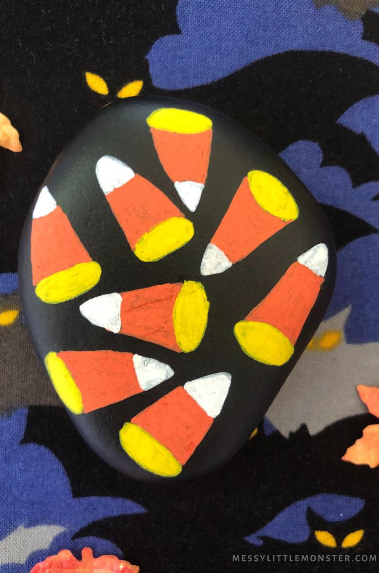 Halloween rock painting - Candy Corn