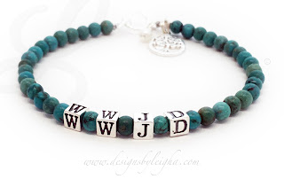 This is a Turquoise WWJD (What Would Jesus Do) Bracelet. The Turquoise beads are approximately 4mm round with beautiful inclusions.