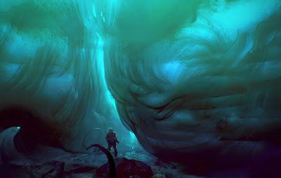 Fantástica ilustracion de paisajes futurista y de fantasía