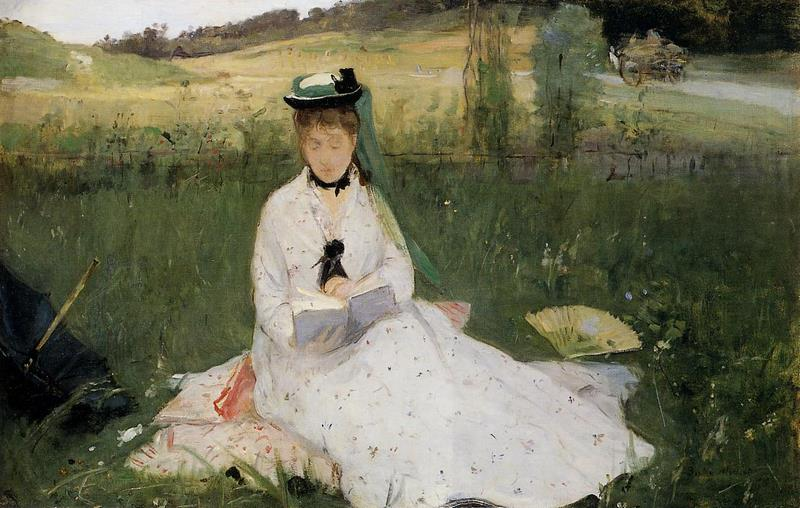 Reading with Green Umbrella.  Berthe Morisot · 1873