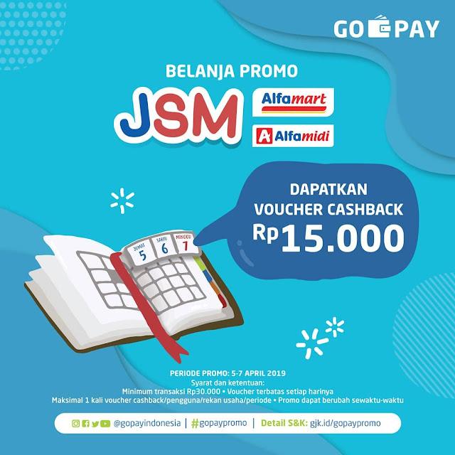 #GOPAY - #Promo JSM Voucher Cashback 100% di  Alfamidi & Alfamart (s.d 07 April 2019)