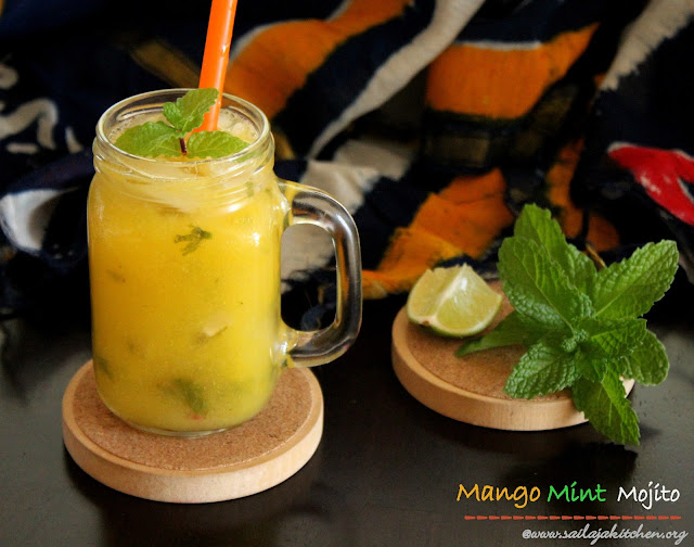 images of Virgin Mango Mojito / Mango mint Mojito / Non Alcoholic Mango Mojito - Summer Drink Recipes