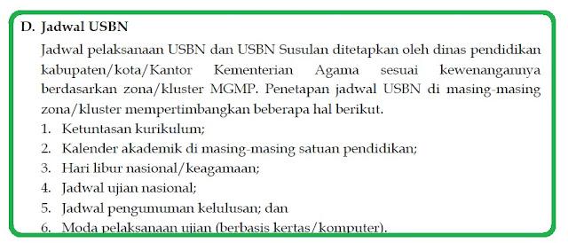 Jadwal Pelaksanaan USBN SMP  Tahun Pelajaran 2018/2019