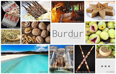 Burdur'un meşhur şeylerini gösteren resimlerden oluşan kolaj