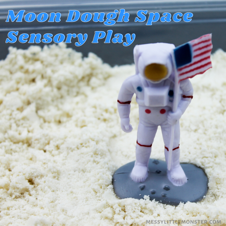 Moon dough recipe and space sensory play activity