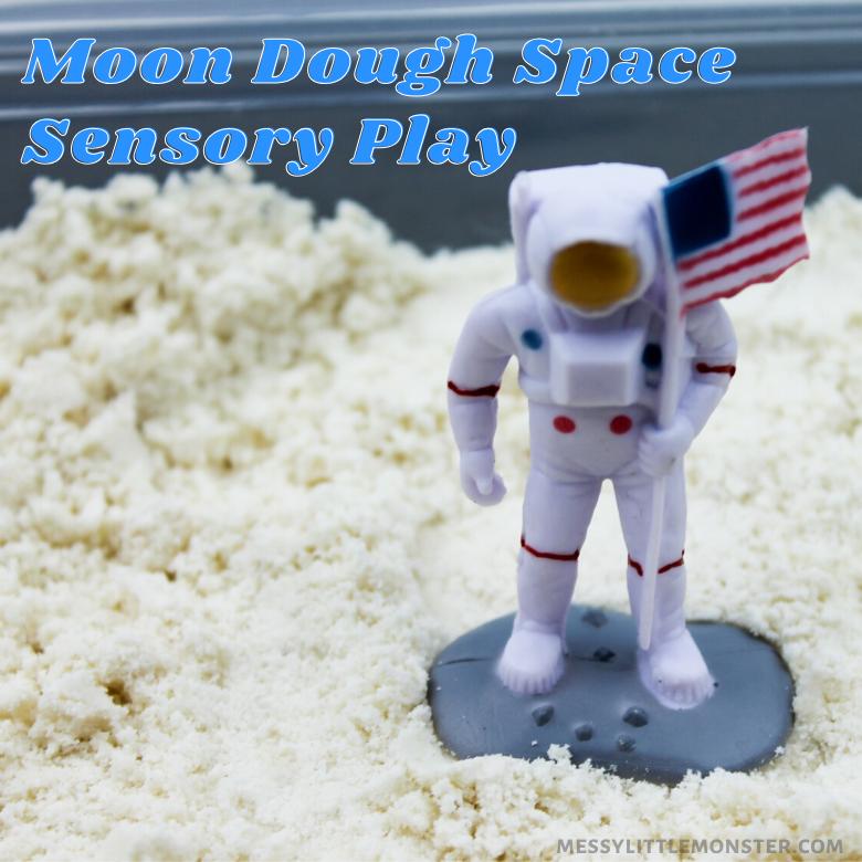 Moon dough recipe and space sensory play activity