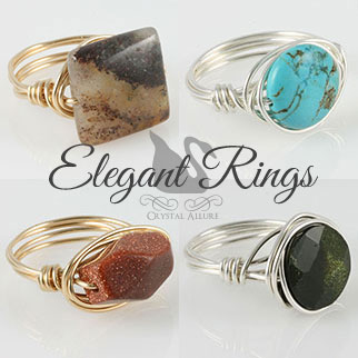 Handmade Gemstone Bead Rings by Crystal Allure
