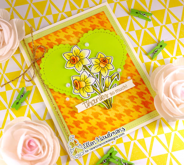 Daffodil thank you card  by Ellen Haxelmans | Daffodils Stamp Set, Heart Frames Die Set and Houndstooth Stencil by Newton's Nook Designs #newtonsnook #handmade