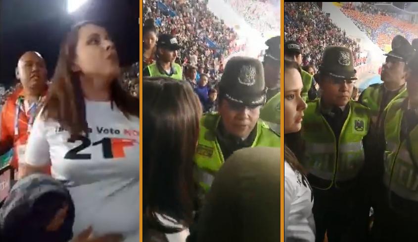 Un contingente policial trató de arrestar a la joven activista en pleno estadio / RRSS
