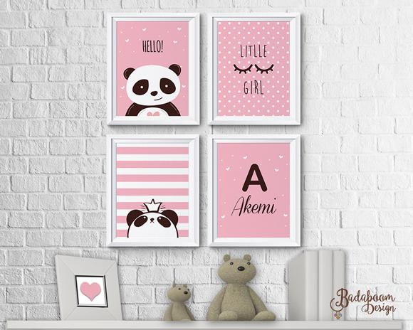 Panda, poster, quadros, arte digital, kit digital, decoração, quarto, menina
