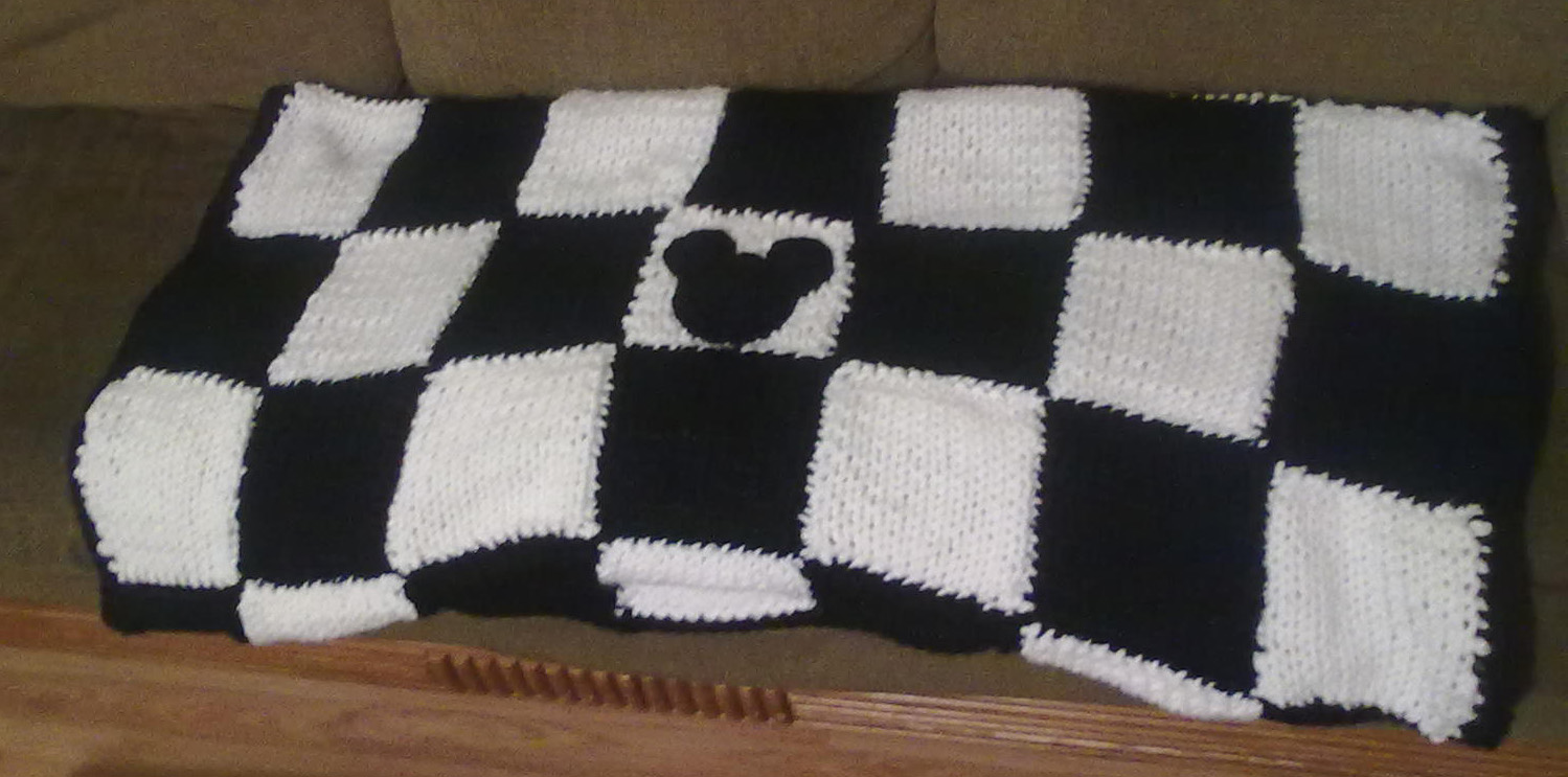 Cast on 13 stitches Crochet Blanket Black And White