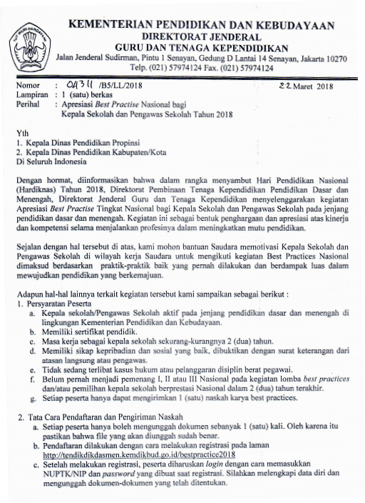 Tingkat Nasional Bagi Kepala Sekolah Dan Pengawas Sekolah SD Sekolah Menengah Pertama Sekolah Menengan Atas Sekolah Menengah kejuruan Tahun  Pelajar Indonesia APRESIASI BEST PRACTICE KEPALA SEKOLAH DAN PENGAWAS SEKOLAH TAHUN 2018