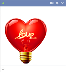 Heart shaped light bulb for Facebook