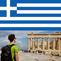 Image of Greek flagu and image of a young man standing in front of a Greek ruin.