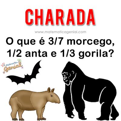 Charada: O que é 3/7 morcego, 1/2 anta e 1/3 gorila?
