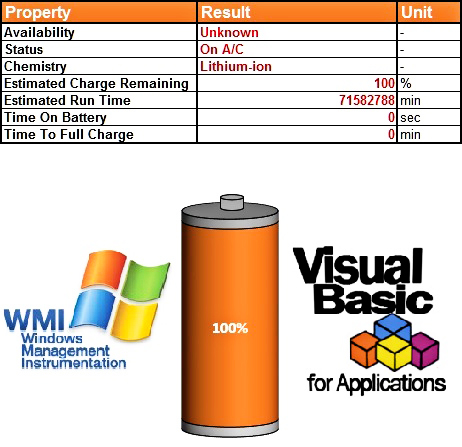 Get Laptop Battery Information Through VBA