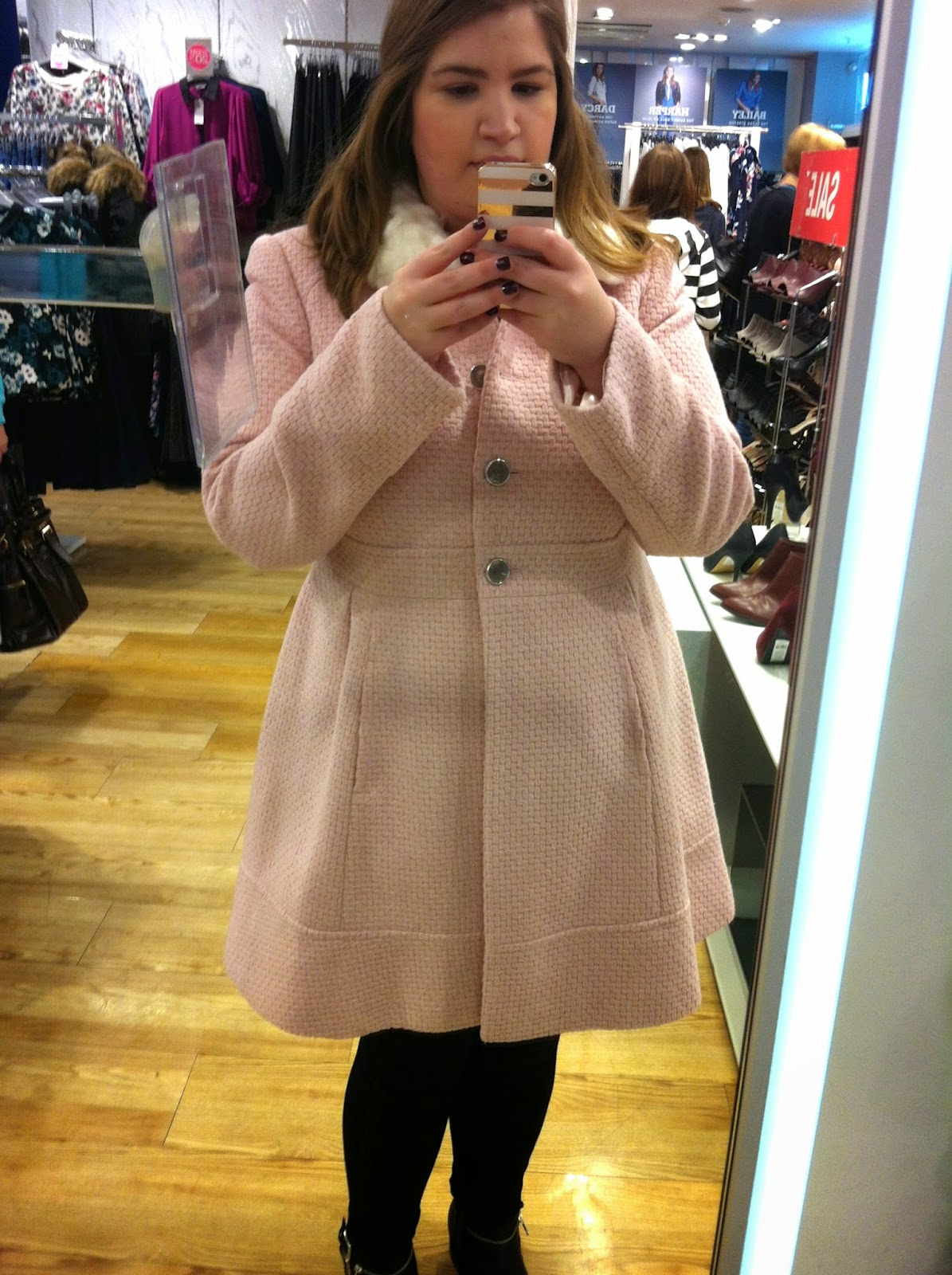 Pink Textured Fit & Flare Coat