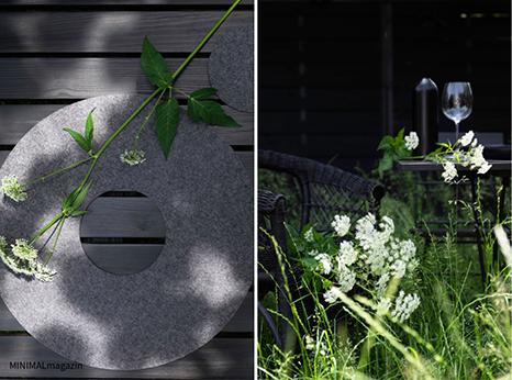 Tischsets aus Wollfilz für eine sommerliche Tischdekoration im Garten.