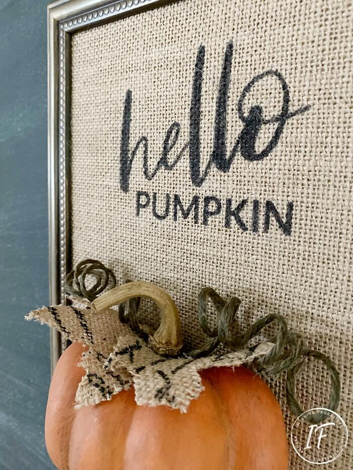 Half Pumpkin Burlap Fall Craft Idea