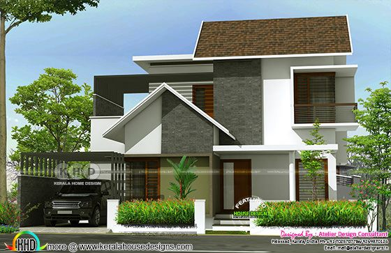 Modern sloped roof 3 bedrooms in 1600 sq-ft
