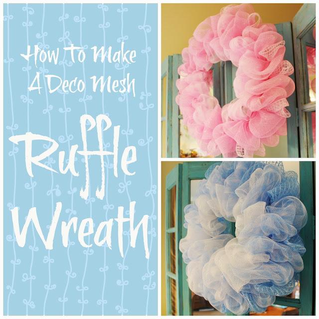 miss kopy kat how to make a deco mesh ruffle wreath. Black Bedroom Furniture Sets. Home Design Ideas