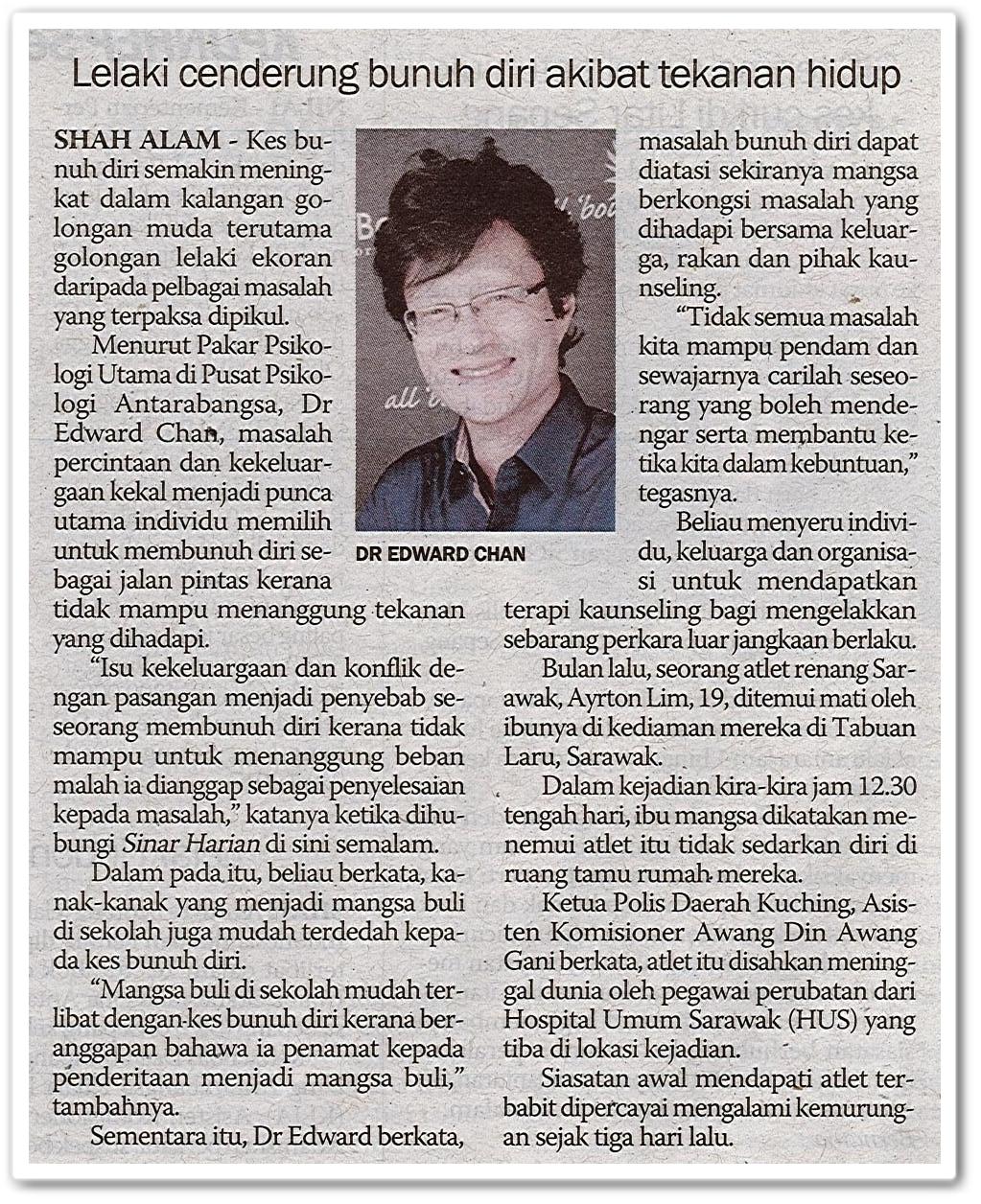 Lelaki cenderung bunuh diri akibat tekanan hidup - Keratan akhbar Sinar Harian 5 November 2019