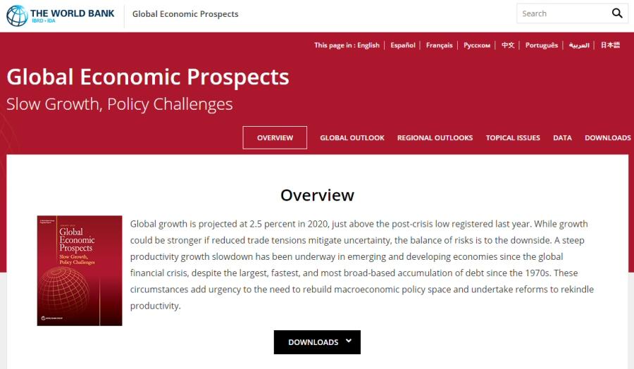 세계은행 발표, 2020년 세계 경제성장률 2.5% 전망