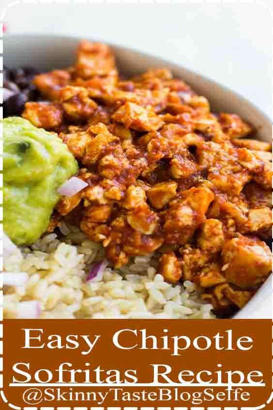 4.9 | ★★★★★ Easy Copycat Chipotle Tofu Sofritas, totally vegan and delicious in a burrito bowl #vegan #plantbased #Easy