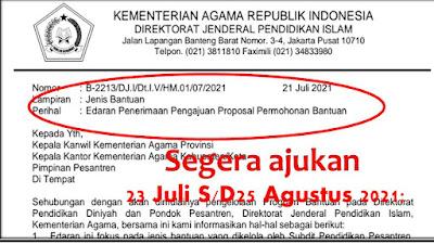 Surat Edaran Penerimaan 3 Jenis Pengajuan Proposal Permohonan Bantuan Periode 23 Juli s/d 25 Agustus 2021