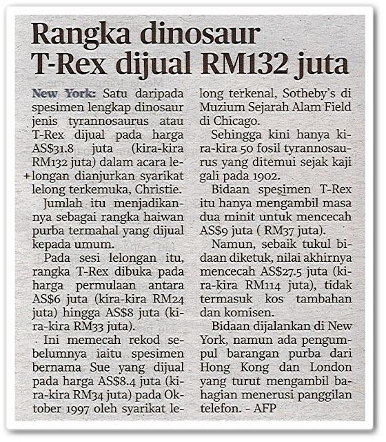 Rangka dinosaur T-Rex dijual RM132 juta - Keratan akhbar Harian Metro 8 Oktober 2020