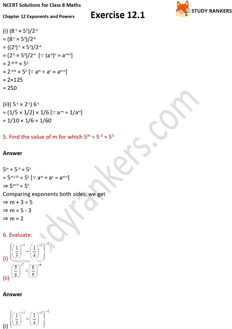 NCERT Solutions for Class 8 Maths Ch 12 Exponents and Powers Exercise 12.1 4