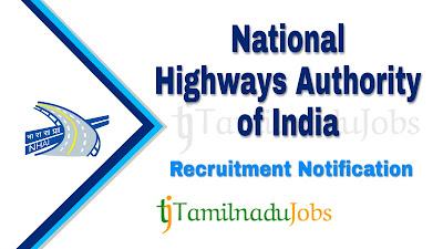 NHAI Recruitment notification 2019, govt jobs in India, govt jobs for LLB, govt jobs for bl, central govt jobs