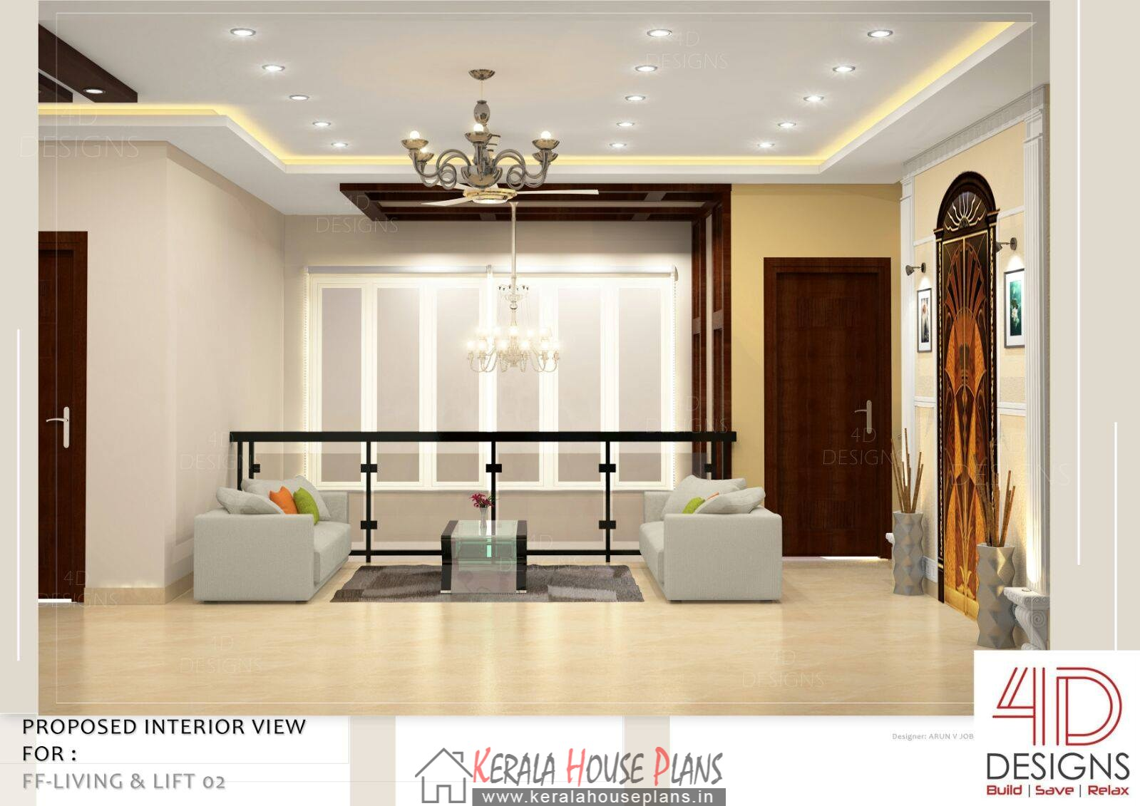 Double floor kerala house design with interior photos for Kerala house living room interior design