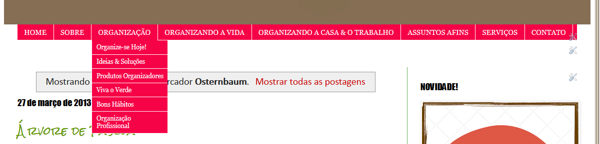 Menu do blog em 2014
