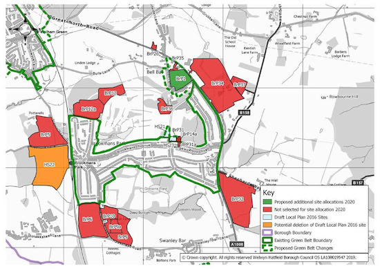 BrP1 shown on Welwyn Hatfield's map of proposed sites