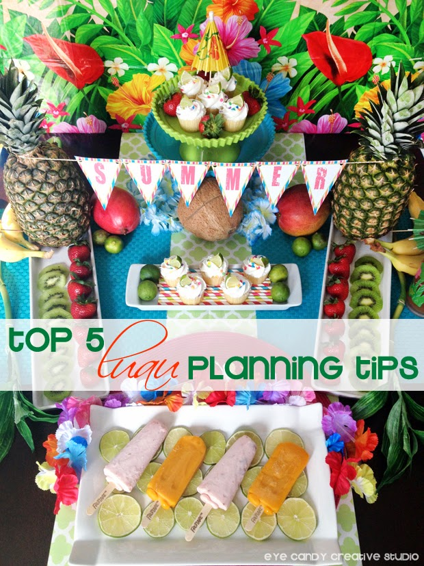 summer luau table decor, how to plan a luau, tips for planning a luau, Fruttare