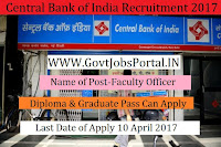 Central Bank of India Recruitment 2017– Faculty Vacancy
