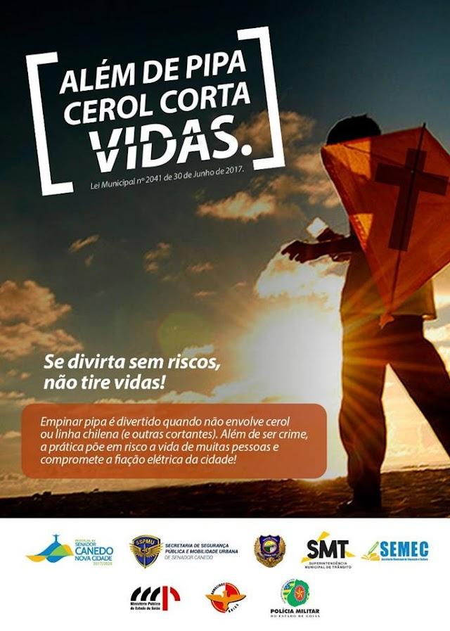Senador Canedo: Campanha conscientiza sobre os riscos de linhas cortantes