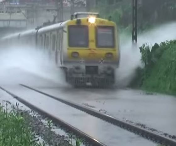 train running on water in India