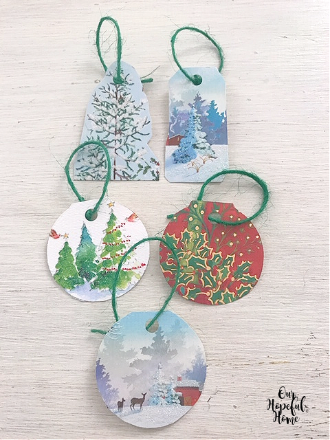 five round DIY Christmas gift tags