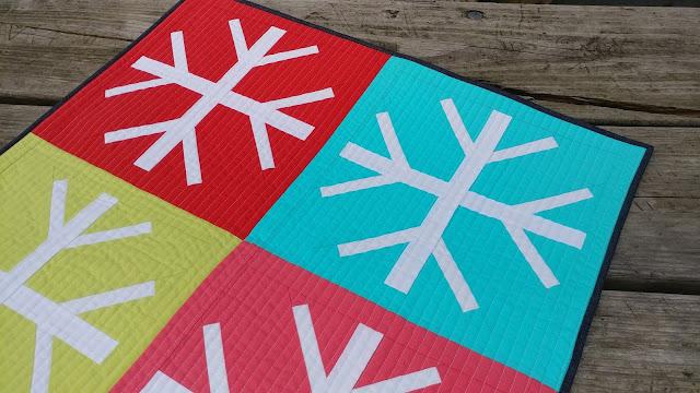Snowfall snowflake modern mini quilt