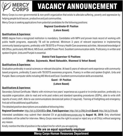 Mercy Corps Pakistan Latest Jobs in Lahore
