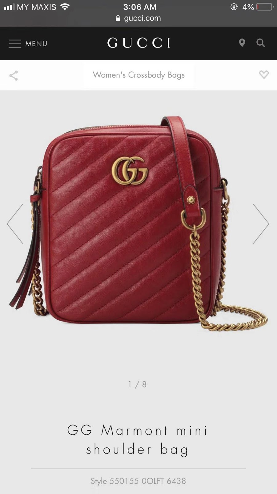 2642ab069097 WE Do Love Luxury: GUCCI GG Marmont Mini Shoulder Bag Style 550155 ...
