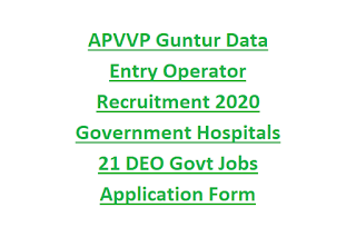 APVVP Guntur Data Entry Operator Recruitment 2020 Government Hospitals 21 DEO Govt Jobs Application Form